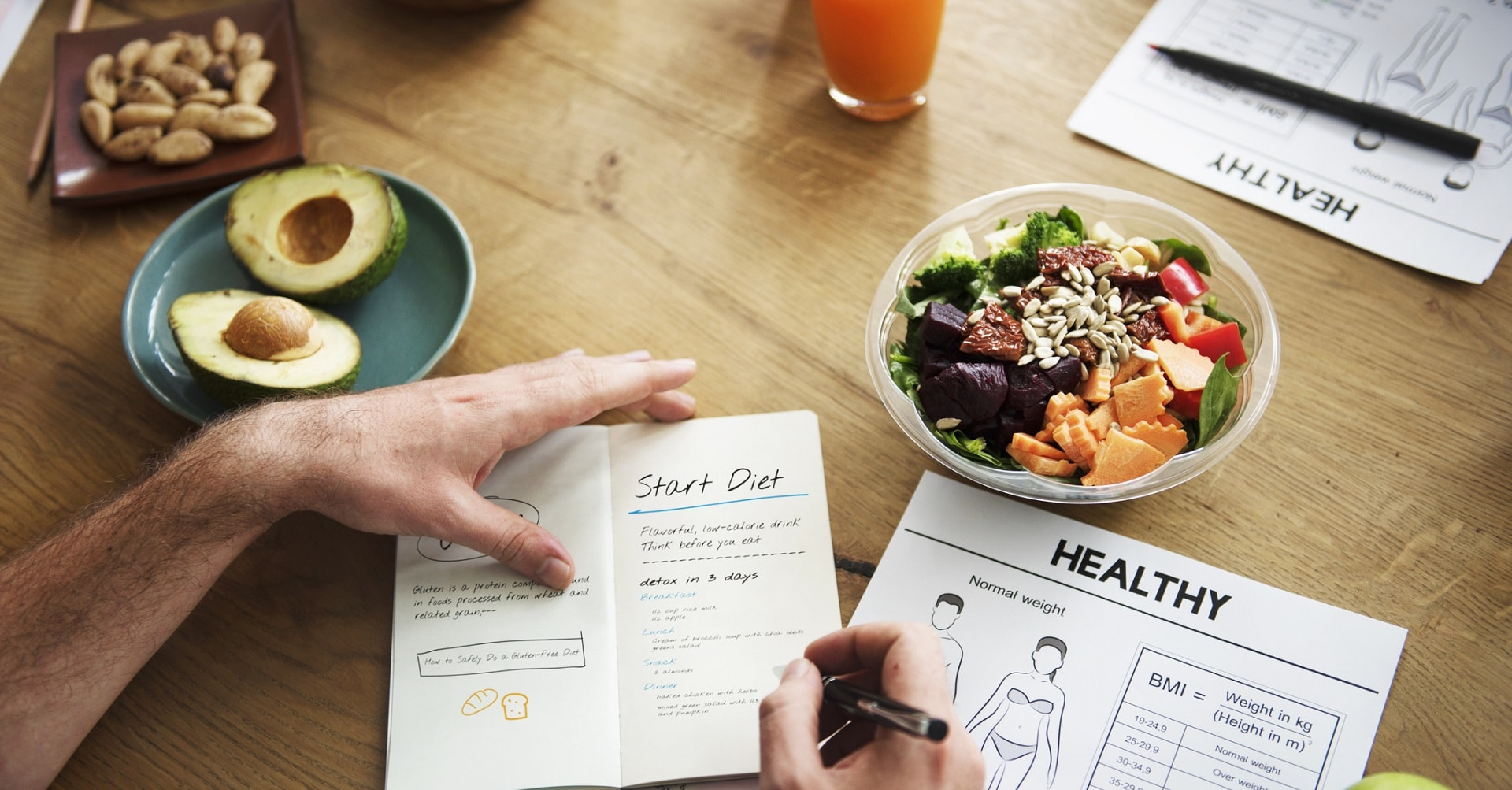 man with healthy food and eating plan